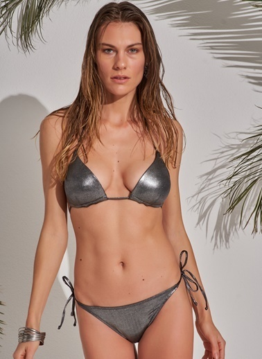 Morhipo Beach Kaplı Parlak Bikini Gümüş